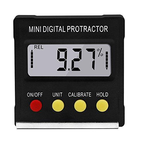 UKCOCO Goniómetro magnético electrónico digital, inclinómetro angular, medidor de bisel con base de parada automática magnética