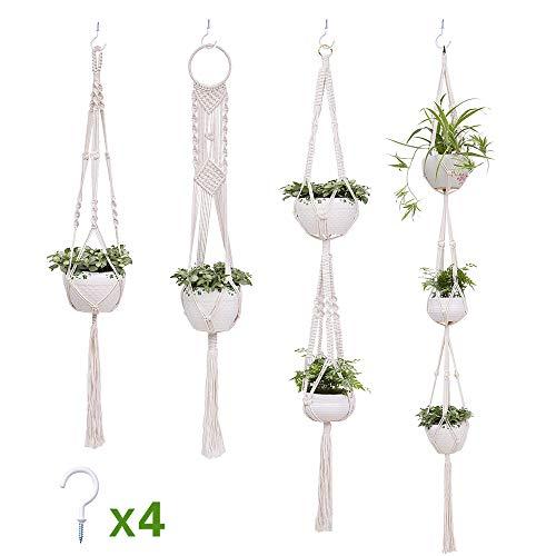 Suchdeco Makramee Baumwollseil Blumenampel Hängeampel Blumentopf Pflanzen Halter Aufhänger für Innen Außen Decken Balkone Wanddekoration 4 Stück