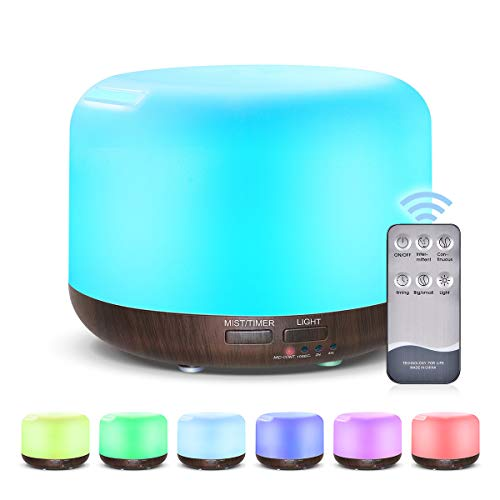 ZZRM 300Ml Ätherisches Öl Aromatherapie, Holzmaserung Diffuser Luftbefeuchter Mit 7Color Night Lights Sleep-Modus Wasserlos Auto-Off Für Home Office Schlafzimmer,Darkwoodgrain