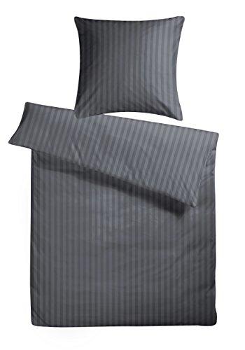 Carpe Sonno Luxuriöse Damast-Bettwäsche in Hotelqualität 135 x 200 cm Anthrazit Grau aus 100{cb8d464e8e7ba1b9ea18df952bb11a075be00b429f60db299702af77a801b289} Baumwolle für besten Schlafkomfort – Hotel-Bettwäsche mit Kopfkissen-Bezug und edlen Damast-Streifen