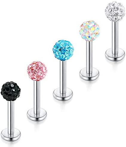 1.2mm CZ Crystal Ball Tiny Labret Monroe Lip Ring Tragus Helix Earring Stud Piercing Jewelry 6/8/10/12mm