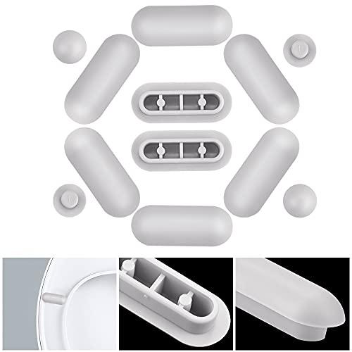 GOLRISEN 8 unids Topes de Asiento de Inodoro Amortiguador de Plástico y 4 unids Topes de Tapa de WC Paragolpes de Inodoro Estándar Tapones Parachoques de Tapas WC para Evitar Ruidos y Golpes, Gris