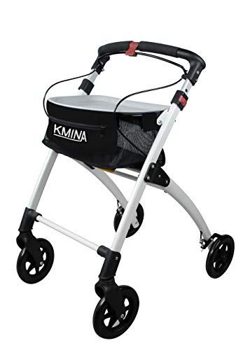 KMINA PRO - Rollator Walker Lightweight, Rollator Walkers for Seniors, Indoor Rollator, Folding Rollator, Rolling Walker for Seniors, Rollator with Tray, 4 Wheel Walker Rollator, Black