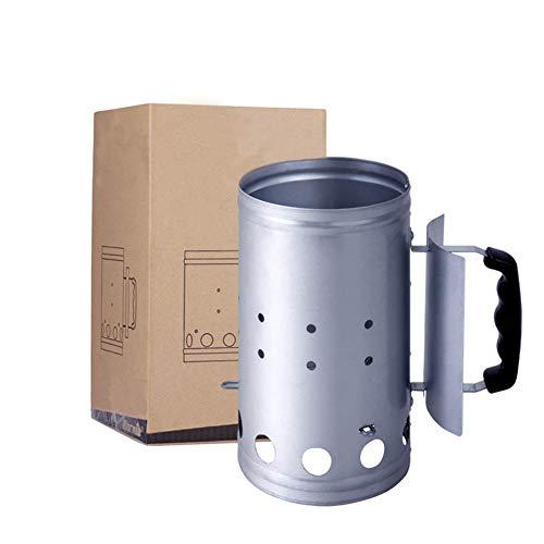 BBQ Accessoire Ontsteking Schoorsteen - Gnition Kamer - Open haard - Open haard Ontsteking voor BBQ met houtskool BBQ Briquettes - Zilver
