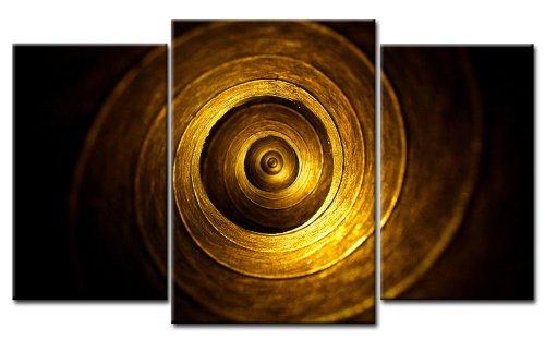 TOP XXL Bild auf Leinwand KREISE GOLD BILDER 3 Teile Art-Nr. AMXL30331 MODERN Bilder fertig gerahmt auf echtem Keilrahmen. Kunstdruck als Wandbild auf Rahmen. Günstiger als Ölbild Gemälde Poster Plakat mit Bilderrahmen RIESIG! Günstig MADE IN GERMANY!