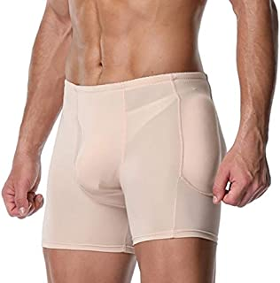Filled Underpants Boxers man Boxers Adjusted Erotic Lingerie with Quilted Hip-Up Bum Enhancer Padded Buttocks Buttocks Lifter Underwear (Color : Beige, Tamaño : 3XL)