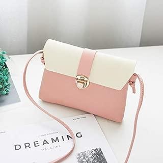 Leather New Women's Shoulder Wallet Crossbody Shoulder Wallet Contrast Color Small Wallet Simple Fashion Purse Waterproof (Color : Pink, Size : S)
