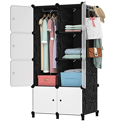 Anenz Portable Wardrobe Closets, 14''x19''Large Cube Storage Organizer System Cabinet Bedroom Armoires Plastic Dresser Cubby Shelving with Doors Closet for Hanging Clothes for Bedroom (8 Cubes)