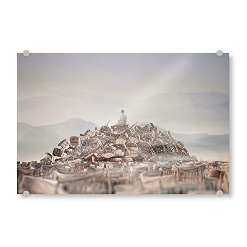 artboxONE Acrylglasbild 30x20 cm Natur Chairs Wonderland Bild hinter Acrylglas - Bild Stuhl Nebel Stuhl