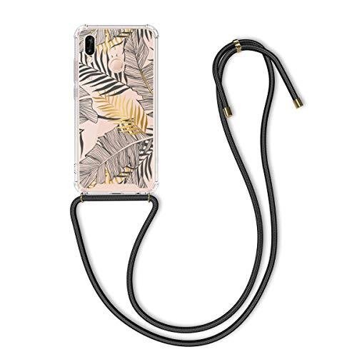 kwmobile Funda con Cuerda Compatible con Huawei P20 Lite - Carcasa de TPU con Colgante Palmeras Amarillo/Gris/Transparente