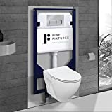 In-Wall toilet Combo Set - Toilet Bowl With Soft-Close Seat, Tank And Carrier System, Push Buttons Included