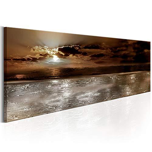 decomonkey Bilder Abstrakt 150x50 cm 1 Teilig Leinwandbilder Bild auf Leinwand Vlies Wandbild Kunstdruck Wanddeko Wand Wohnzimmer Wanddekoration Deko Abstrakt Meer Sonne braun