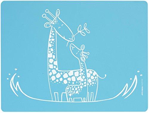 Moderntwist Meal Giggles en Silicone pour bébé Motif Girafe Bleu