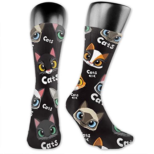 Socken mit niedlichem Katzenmuster, Unisex, Sportsocken, 40 cm lang, personalisierbar