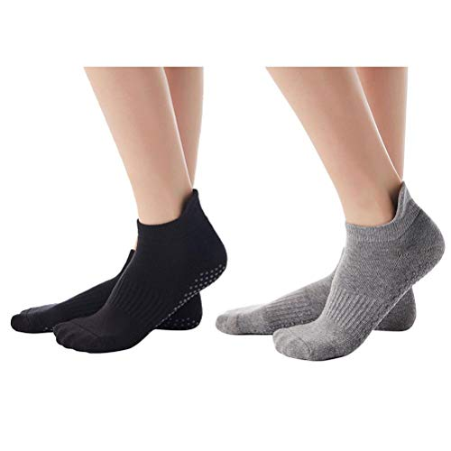 TangYang 2 Pares de Calcetines de algodón para Yoga para Mujeres y Hombres, Antideslizantes, Calcetines de Yoga con Nudos, Calcetines con tapón, Calcetines para Yoga, Pilates, Ballet, Fitness