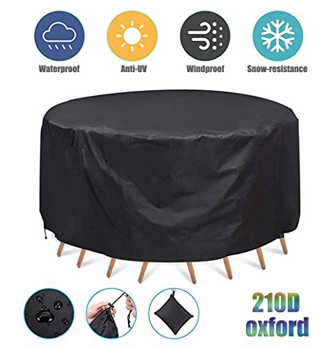 ZHAONI Funda para Muebles De Jardín, 210D Oxford Impermeable para Mesas Redondas, Funda Protectora Anti-UV para Patio Muebles Sillas Sofás Mesas Cubierta,120x75cm/4x2ft