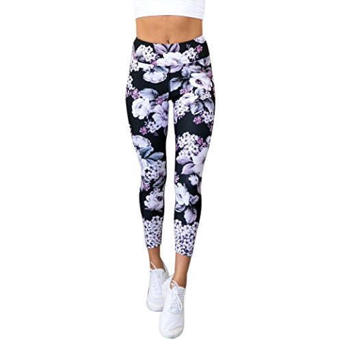 Zarupeng Frauen Drucken Sport Gym Yoga Laufen Fitness Leggings Sporthose Cropped Hosen Tights Sportleggings Stretch Kompression Sport...