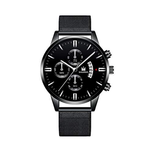 Gefälschte DREI-Augen-Mode Casual Simple Scale Business-Kalender Mesh Strap Watch Herren Quarzuhr Herrenuhr D