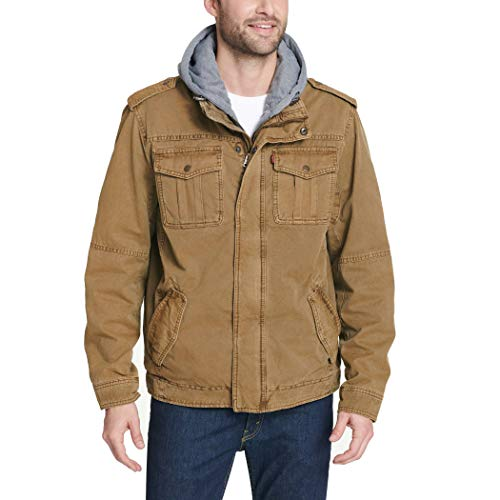 Levi's Men's Washed Cotton Hooded Military Jacket, Worker Brown/Polytwill Lined, Small
