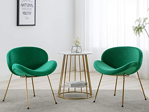 Altrobene Modern Velvet Accent Chairs, Kitchen Dining Chairs, Home Office/Living Room/Bedroom Chairs, Golden Finished, Set of 2, Green