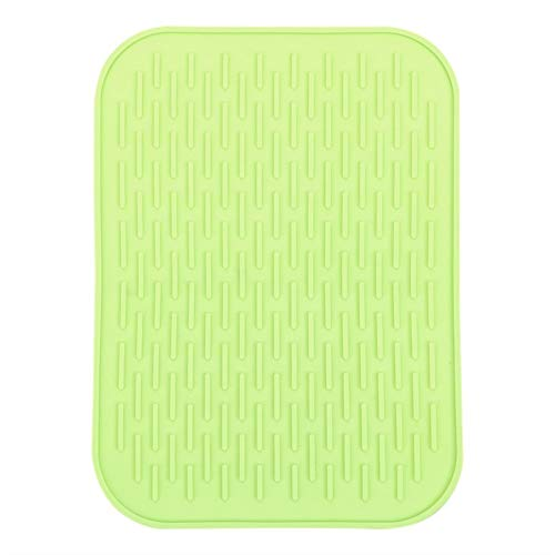 Press Pot Pan Holder Silicone Table Mats Pad Table Placemat Anti-slip Cup Coaster Cushion Heat Resistant Mat Rectangle Flowers (Color : Green)