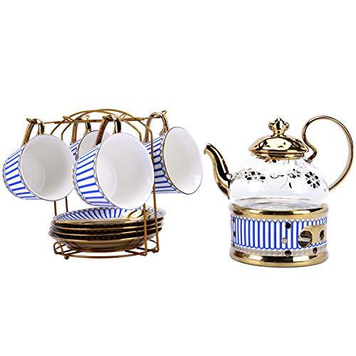 fanquare 11 Stück Blau Geometrisch Englische Porzellan Tee Sets, Keramik Teeservice Kaffee Set mit Stövchen Teebereiter und Metallhalter