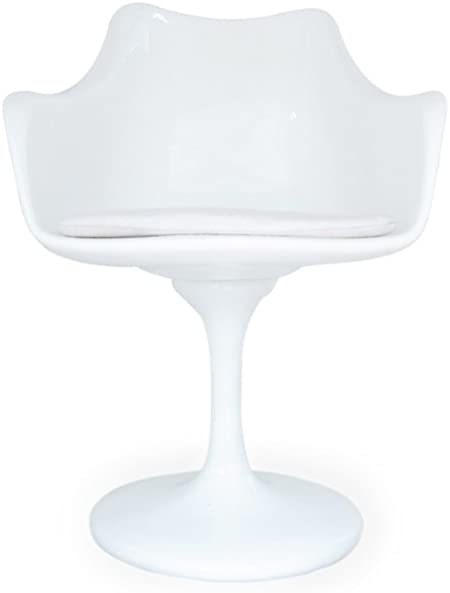 Kardiel Tulip Style Armchair White Fiberglass, White Cashmere Wool