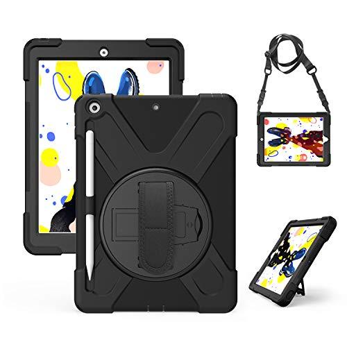 Gerutek Hülle für Neues iPad 10,2 Zoll (7. Generation 2019), Stoßfeste Robust Panzerhülle mit Pencil Halter, Drehbar Stände, Handschlaufe, Schultergurt Schutzhülle für iPad 10,2 2019, Schwarz