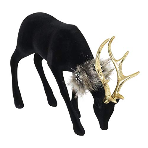 Exhart Christmas Reindeer Statue– Durable, Black Velvet, Reindeer Figurine– UV & Weather-Resistant Indoor & Outdoor Christmas Reindeer Decoration for Christmas & Thanksgiving, 10.5' x 3.5' x 11.5.