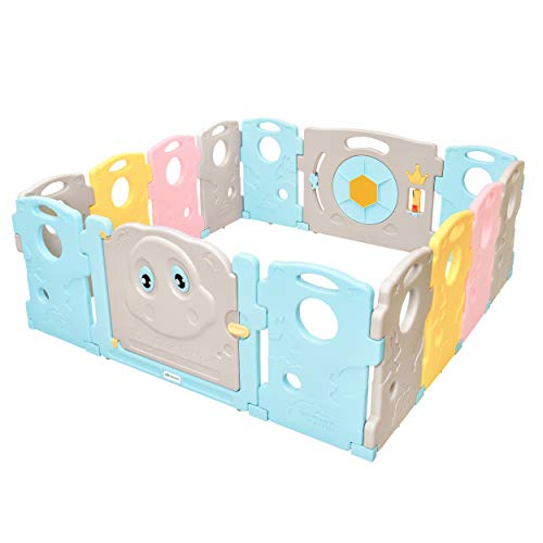 Ndotos Baby Playpen - 14 Panel Safety Play Yard - Kids Activity Center, Indoor and Outdoor (Tortoise and Hare)