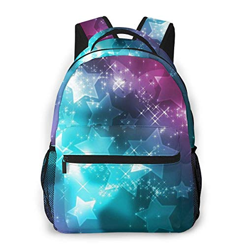 Lawenp Fashion Unisex Backpack Purple Pink Stars Design Pattern Bookbag Lightweight Laptop Bag for School Travel Outdoor Camping