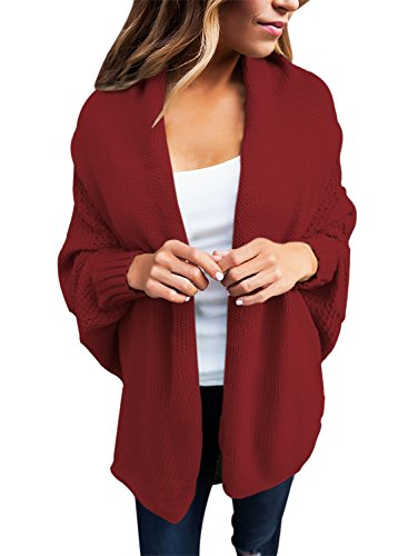 GOSOPIN Damen Strickjacke Frauen Cardigan Loose Winter Lang Strickcardigan, Rot, S