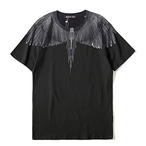 HA73 T-Shirt Ample Col Rond avec Motif Angel Wings Cool Confortable et Respirant Simple & Fashion,b-Gary,L