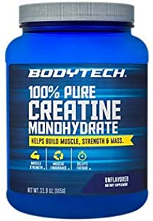 BodyTech 100 Pure Creatine Monohydrate Unflavored 5 GM/Serving Supports Muscle Strength Mass (32 Ounce Powder)