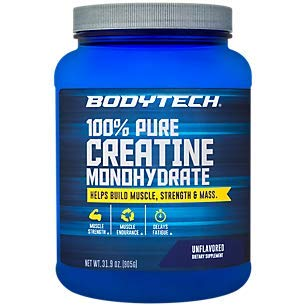 100 Pure Creatine Monohydrate Unflavored 5 GM/Serving Supports Muscle Strength Mass 32 Ounce Powder by BodyTech