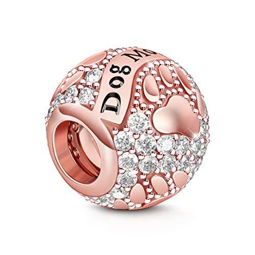 GNOCE Rose Gold Charm Graviert mit Hund Mom 925 Sterling Silber Liebe Mich, Liebe Meinen Hund Perlen Charms mit Zirkonia für Armbänder Halsketten (Hund Mutter)