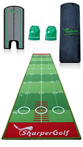 SharperGolf 10' x 20' Premium Indoor Putting Mat with Putting Mirror Carry Bag and...