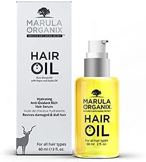 Marula Organix Hair Oil Hydrating Anti-Oxidant Rich Hair Serum, Organic Pure Marula, Argan, Jojoba Oil, Revives Damaged & Chemically treated Hair! Leaves a Satin Finish! Promotes Hair Growth!