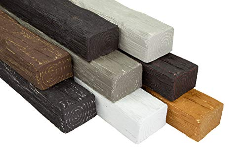 Balken | Holzoptik | Decke | PU | rustikal | Dekoration | Holzmaserung | Abdeckung | 2 Meter | 90x60mm | DB90-8 weiß