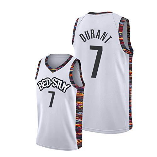 Camiseta de baloncesto Kěvin, para hombre, #7 Nets Home City Edition, color blanco, para entrenamiento juvenil, sin mangas, talla L