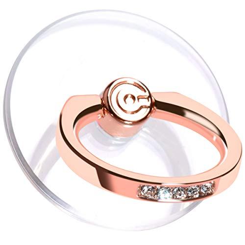 Transparent Phone Ring Stand Holder - EI Sonador Cell Phone Ring Holder Finger Grip 360 Degree Rotation (2 Rose Gold Diamond)