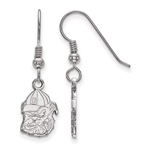 University of Georgia Bulldogs Mascot Head Dangle Earrings in Sterling Silver 33x10 mm