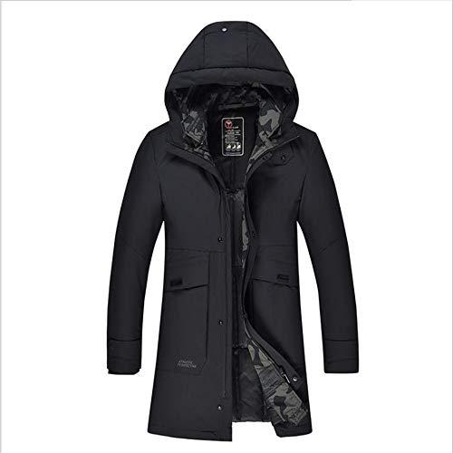 Nieuwe heren donsjas van middelbare leeftijd mannen warme lange capuchon dikke warme winter warme jas jas zwart - geschikt voor vadergeschenk warme jas (kleur: zwart, maat: L)