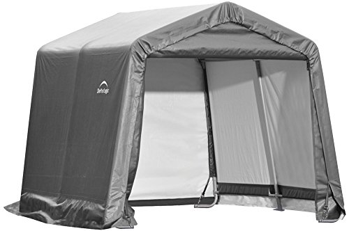 ShelterLogic 10' x 10' Shed-in-a-Box All Season Steel Metal Peak Roof Outdoor Storage Shed with Waterproof Cover and Heavy Duty Reusable Auger Anchors