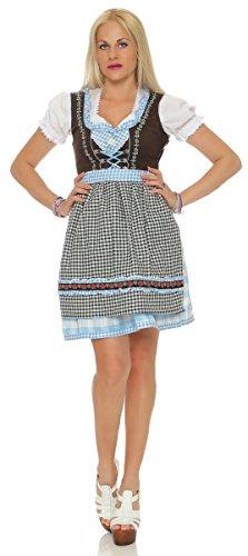 Fashion4Young 11223 Damen Dirndl 3 TLG.Trachtenkleid Kleid Mini Bluse Schürze Trachten Oktoberfest (38, blau)