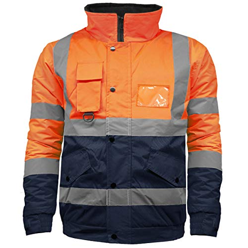 High Visibility Safety Security Reflective Protective Waterproof Workwear Bomber Jacket Fluorescent (S, Orange/Navy)