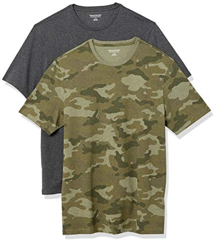 Amazon Essentials 2-Pack Slim-Fit Crewneck T-Shirt Fashion-t-Shirts, Green Camo/Charcoal Heather, L, Pack de 2