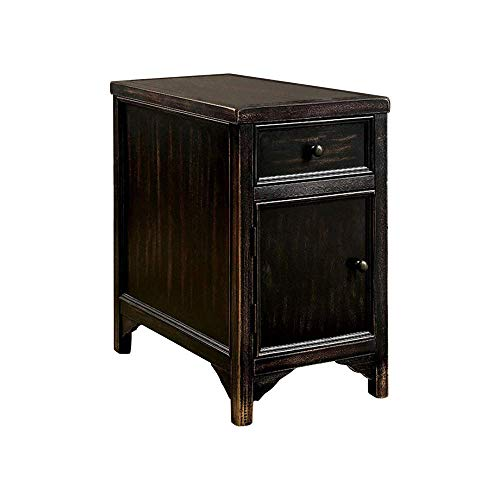 Furniture of America Side Table, Antique Black
