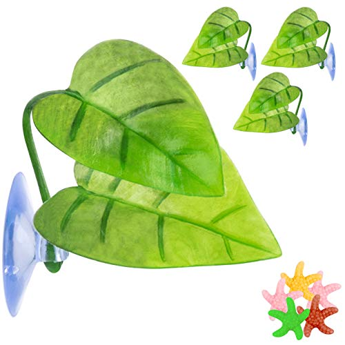 WXJ13 4 Pieces Betta Fish Leaf Bed, Betta Leaf Hammock with Suction Cup,1 Piece Stick-on Thermometer Strip and 5 Piece Resin Starfish for Betta Habitat Breeding Resting Aquarium Decoration