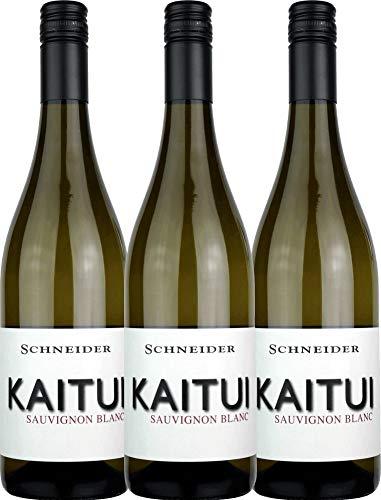 VINELLO 3er Weinpaket Weißwein - Kaitui Sauvignon Blanc 2019 - Markus Schneider mit Weinausgießer | trockener Weißwein | deutscher Sommerwein aus der Pfalz | 3 x 0,75 Liter